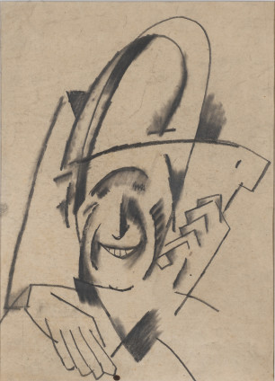 Béla Kadar, Caricature Self Portrait, 1921