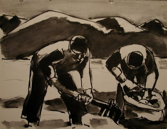 Josef Herman, Potato harvest, 1959