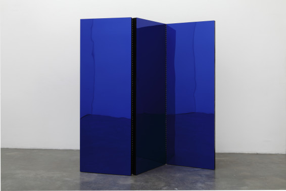 Tom Burr Black Folding Screen, (or, Blue Movie, 1969, aka Fuck), 2010 Wood, Plexiglas and steel hinges 182.9 x 177.8 cm 72 x 70 ins