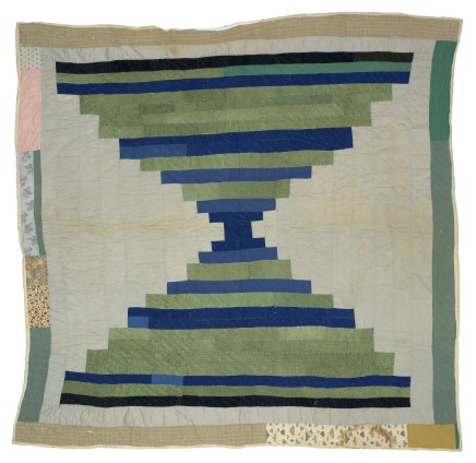 Aolar Mosely, 'Log Cabin' - single block 'Courthouse Steps' variation (local name: 'Bricklayer'), c. 1950. Cotton, twill, cotton hopsacking, corduroy. 205.7 x 215.9 cm, 81 x 85 ins. © Aolar Mosely / Artists Rights Society (ARS), New York and DACS, London