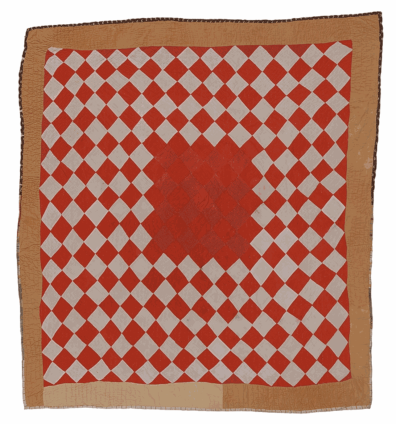 Delia Bennett, 'Diamonds' variation—'One Patch' with contrasting center, c. 1975. Cotton, corduroy. 195.6 x 185.4 cm, 77 x 73 ins. © Delia Bennett / Artists Rights Society (ARS), New York and DACS, London