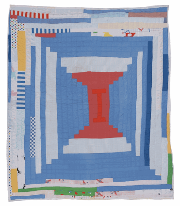 Loretta Pettway, 'Log Cabin' - single block 'Courthouse Steps' variation (local name: 'Bricklayer'), c. 1980. Cotton, cotton/polyester blend. 254 x 228.6 cm, 100 x 90 ins. © Loretta Pettway / Artists Rights Society (ARS), New York and DACS, London