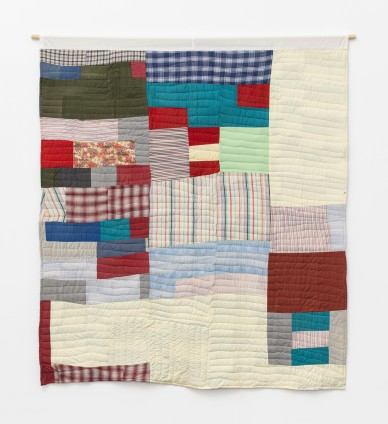Essie Bendolph Pettway, Two-sided quilt: Blocks and 'One Patch' - stacked squares and rectangles variation, 1973. Cotton, polyester knit, denim. 223.5 x 203.2 cm, 88 x 80 ins. © Essie Bendolph Pettway / Artists Rights Society (ARS), New York and DACS, London