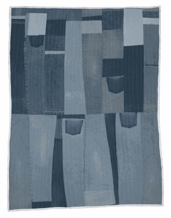 Loretta Pettway Bennett, Work-clothes strips, 2003. Denim. 200.7 x 152.4 cm, 79 x 60 ins. © Loretta Pettway Bennett / Artists Rights Society (ARS), New York and DACS, London