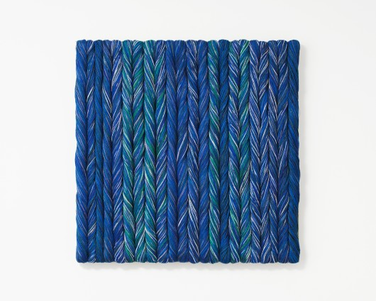 Sheila Hicks Blue, 2017 Linen 71 x 71cm, 28 x 28 ins Photo: Cristobal Zanartu