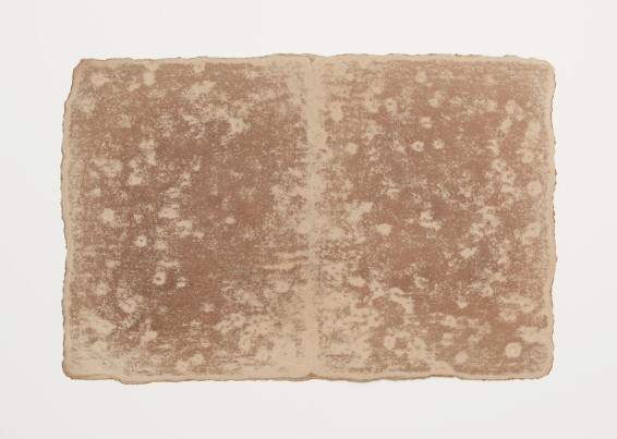 Small Ledger: Comoton, Guatemala, 1980 Earth from site on muslin-mounted rag paper rock marks, Sayreville earth, muslin-mounted rag paper 29.8 x 45.1 cm, 11 3/4 x 17 3/4 ins © Michelle Stuart
