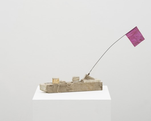 Chatham Boat (pink flag), 2017  Wood, linen, wire, string  14 x 45.7 x 7 cm, 5 1/2 x 18 x 2 3/4 ins  © Michelle Stuart