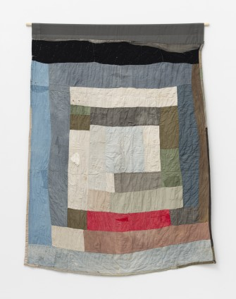 Loretta Pettway, Two-sided work-clothes quilt: Bars and blocks, c. 1960. Cotton, denim, twill, corduroy, wool blend. 210.8 x 180.3 cm, 83 x 71 ins. © Loretta Pettway / Artists Rights Society (ARS), New York and DACS, London