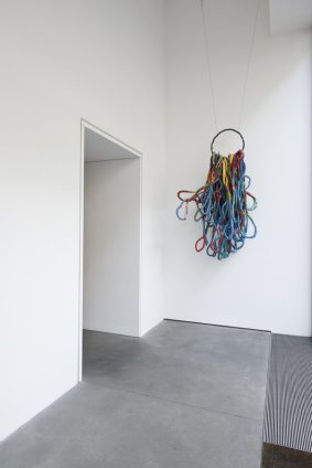 Sheila Hicks Cordes Sauvages, 2011 Iron ring, cotton wrapped with triple-dyed linen, cotton, nylon, rayon Ring diameter 50 cm / 19 3/4 ins H 210 cm / 82 5/8 ins L 117 cm / 46 1/8 ins