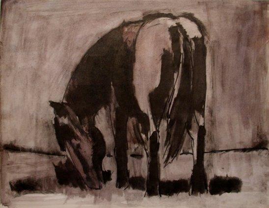 Josef Herman, Horse grazing, 1960