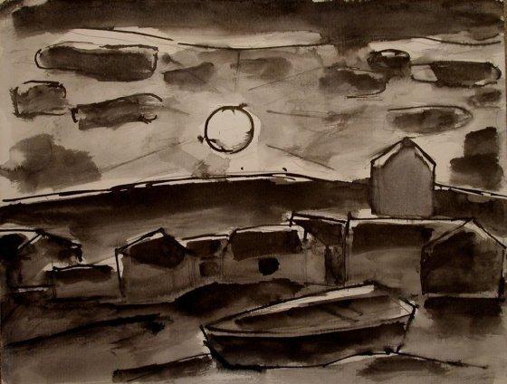 Josef Herman, Fishing port in moonlight, 1950s