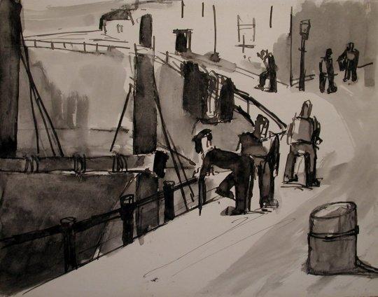 Josef Herman, Port scene, 1948