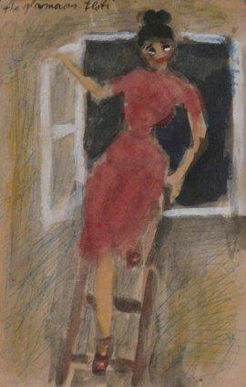 Peter Potworowski, Woman on ladder, 1948