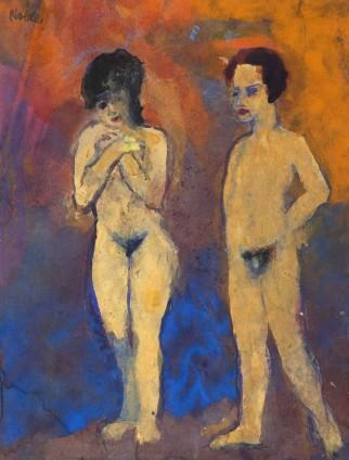 Emil Nolde, Akte, Mann und Frau (Frau Hände vor der Brust gekreuzt), 1938-45