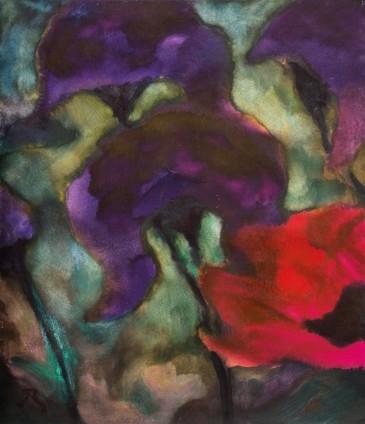 Herbert Beck, Violette Iris und roter Mohn