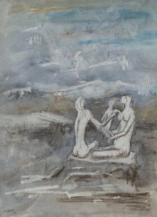 Henry Moore, Two women and a child on a beach, 1951