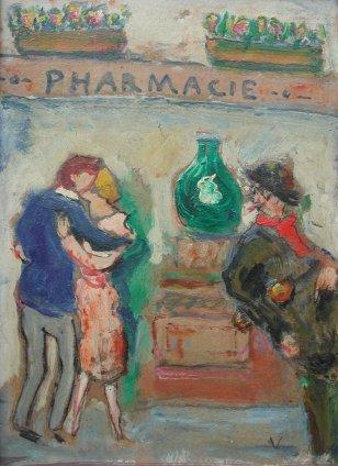 Michel Georges-Michel, Couple devant une pharmacie