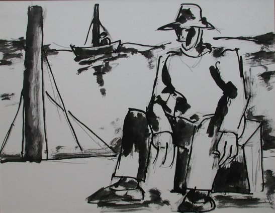 Josef Herman, Seated fisherman on shore, 1960