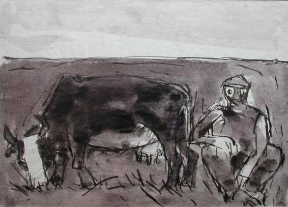 Josef Herman, Cow grazing and man, 1948