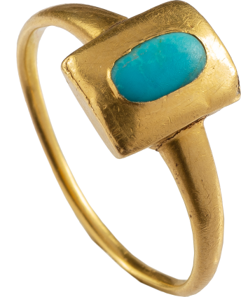Renaissance Ring with Turquoise Cabochon , Western Europe, late 15th- early 16th century