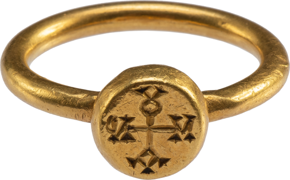 Byzantine Ring with Cruciform Monogram , Early Byzantine, mid-6th -7th century