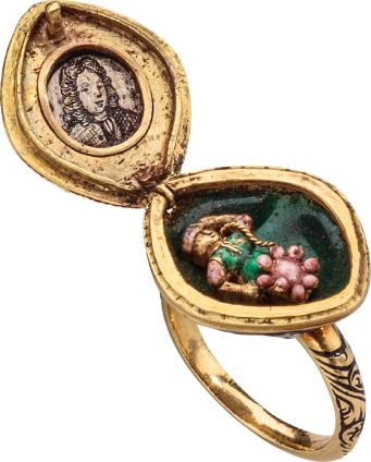 Diamond Cluster Ring with Locket , c. 1670-1680