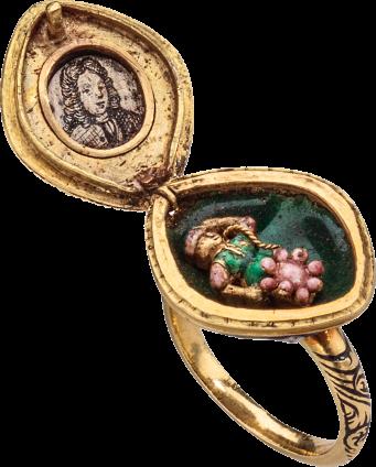 Diamond Cluster Ring with Locket , c. 1670-1680