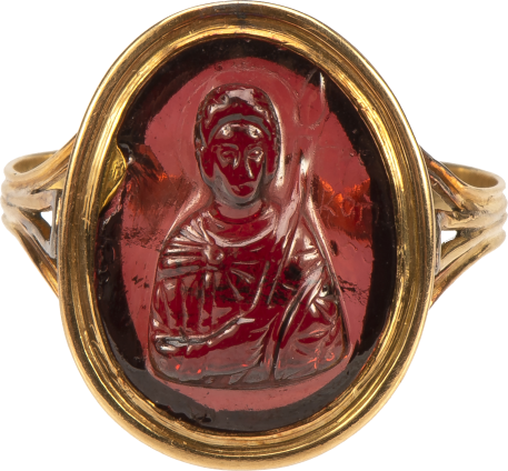Ring with Cameo of Saint Procopius , Cameo, Middle Byzantine, c. 11th-12th century; mount, 19th century