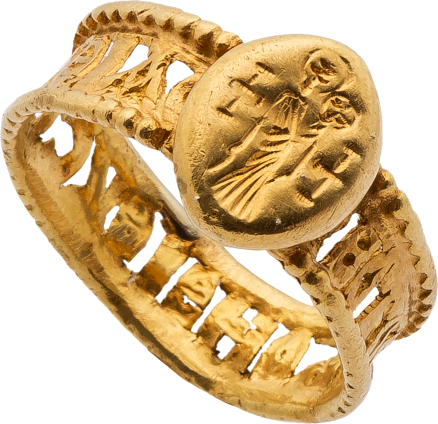 Gold Ring with the Standing Virgin and Child and Openwork Band , late 7th-early 8th century