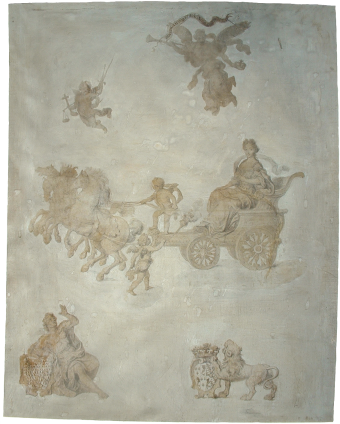 Pierre Mignard(?), Drawing of Marie Anne Christine, Dauphine of France, Reproducing in microscopic letters the text of Ignatio Francesco Mulgin , c. 1683-84