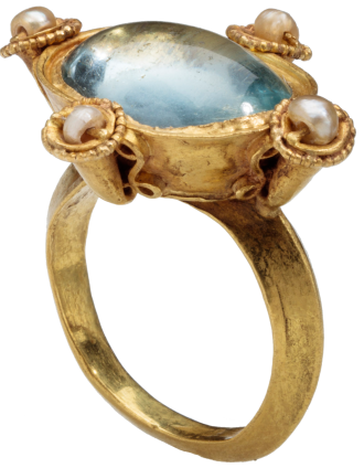 Byzantine Glass and Pearl Ring , early 6th century AD