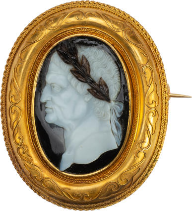 Portrait Cameo of Emperior Vespasian in a Gold Brooch , Italy, c. 1600