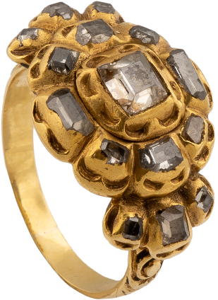 Diamond Cluster Ring , 1620-1640