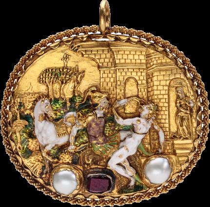 Hat Badge of the Rape of Lucretia , c. 1550-1560; frame c. 1600