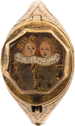 Ring with Double Portrait in verre eglomise (reverse glass) , c. 1620-1640