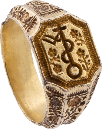 Signet Ring with Merchant's Mark and Floral Engraving