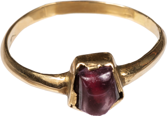 Tart Mold Ring with Garnet , 13th century