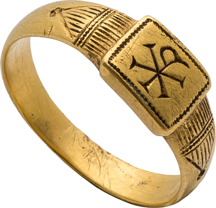Byzantine Ring with Christogram , late 4th – early 5th century AD