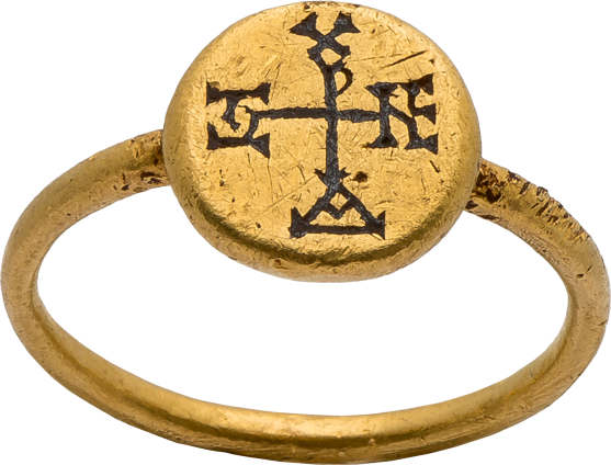 Byzantine Ring with Cross Monogram , 550-650 AD
