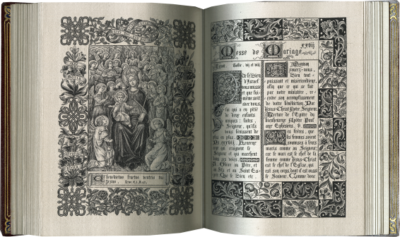 Book of Prayers woven after illuminations in manuscripts of the fourteenth and fifteenth century , Lyon, R.P.J. Hervier, designer; J. A. Henry, fabricator, for A. Roux, 1886-1887, probably after 1900