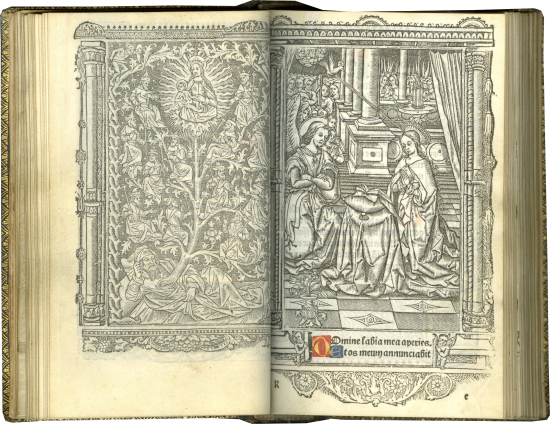 Printed Book of Hours (Use of Rome) , c. 1515; with an earlier tipped-in almanac of 1507-1527