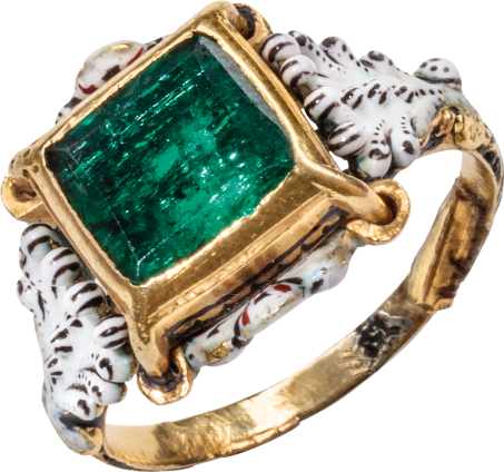 Emerald and Enamel Solitaire Ring , c. 1680-1720
