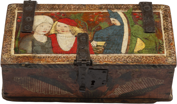 Painted Minnekästchen Casket with Two Lovers and a Fool , c. 1490s