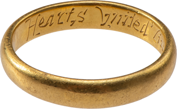 "Posy ring ""Hearts United Live Contented"" , England, 17th century"
