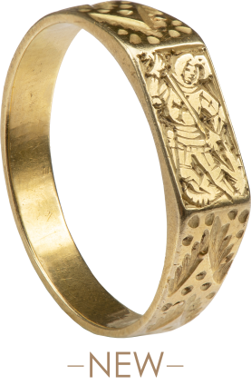 Medieval Iconographic Ring with St. George Slaying the Dragon , England, mid-15th century