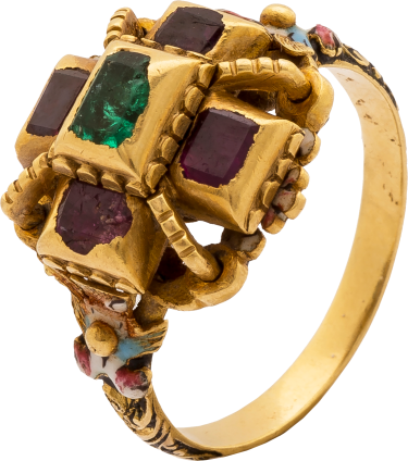 Baroque Enameled Ring set with Rubies and an Emerald , c. 1650