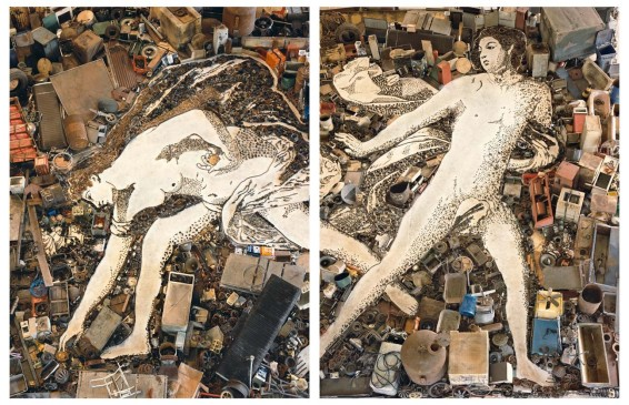 Vik Muniz, Atalanta and Hippomenes, after Guido Reni (diptych) (Pictures of Junk), 2005