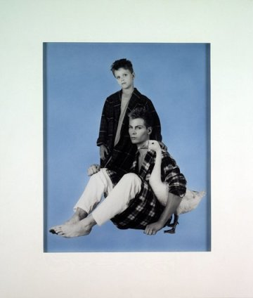 Robert Mapplethorpe  Fashion Shoot with Goose, 1984  Silver gelatin print with blue airbrush; in original formica frame  68.6 x 61 cm / 27 x 24 ins
