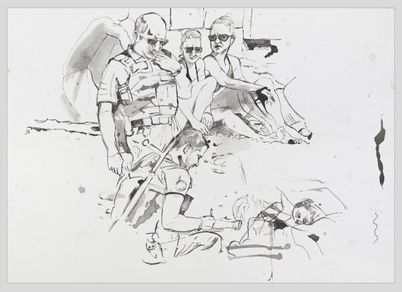 Bather with Cops, 2018