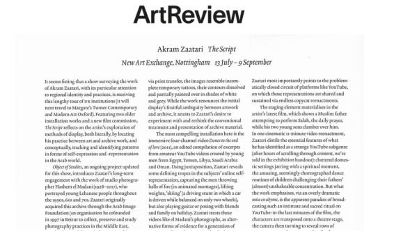 Akram Zaatari The Script